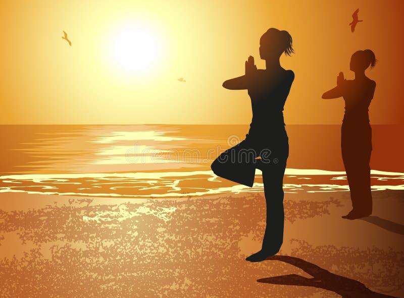 Mulheres no Pose da ioga ilustração stock