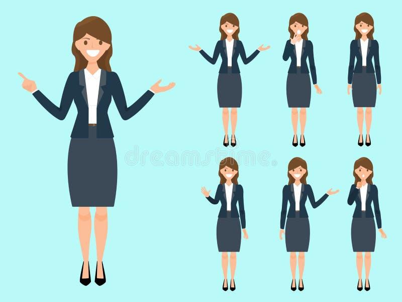 Mulheres no terno de negócio Posição adulta bonita da mulher dos desenhos animados mim ilustração royalty free