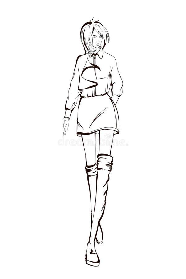 Mulheres novas bonitas Meninas tiradas mão da forma de linhas pretas no fundo branco Levantamento do modelo de forma esbo?o ilustração royalty free