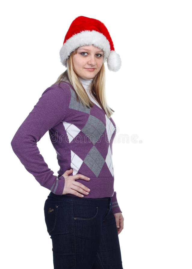 Mulheres novas com chapéu de Santa fotos de stock royalty free