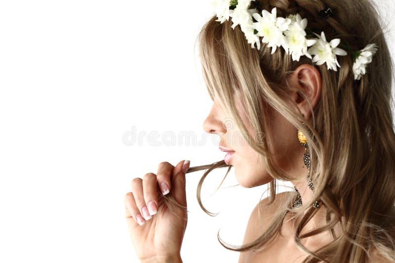 Mulheres novas no branco fotos de stock royalty free