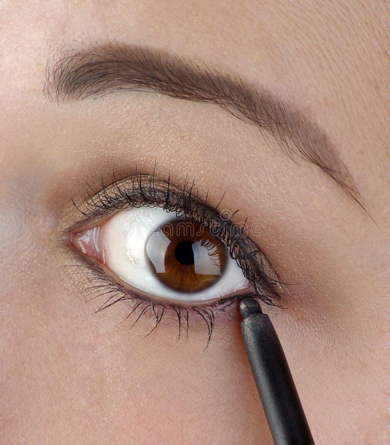 Mulheres novas que usam um lápis do eyeliner fotos de stock