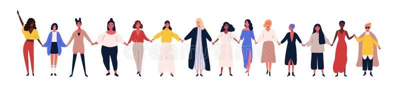 Mulheres ou meninas felizes que estão junto e que guardam as mãos Grupo de amigos fêmeas, união das feministas, irmandade liso ilustração stock