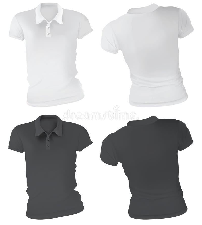 Mulheres Polo Shirts Template ilustração stock