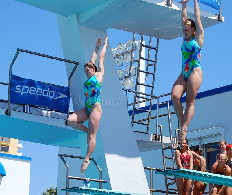 Mulheres Practiving um mergulho de Sychronized fotografia de stock royalty free