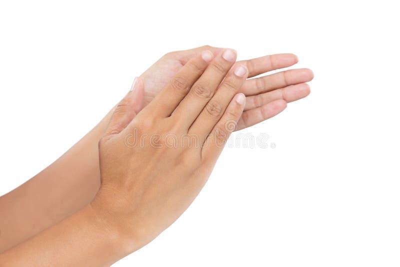 Mulheres que aplaudem as mãos fotografia de stock