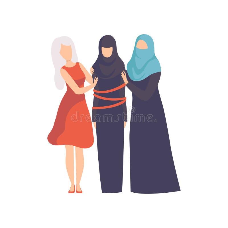 Mulheres que apoiam a mulher muçulmana amarrada em lothes racionais, meninas que defendem para a igualdade, liberdade, direitos c ilustração do vetor