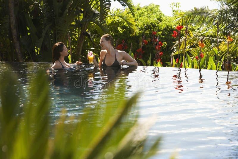 Mulheres que apreciam na piscina exterior fotos de stock royalty free