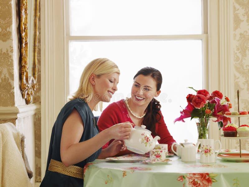 Mulheres que comem o chá na mesa de jantar imagens de stock