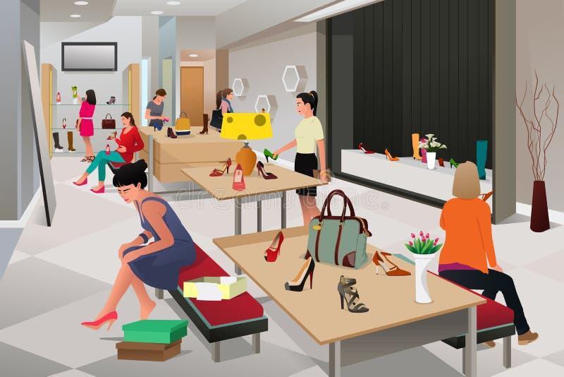 Mulheres que compram sapatas ilustração do vetor