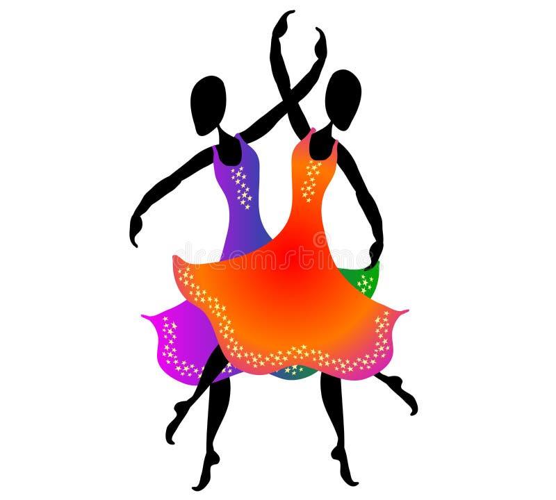Mulheres que dançam a arte de grampo 2 ilustração stock