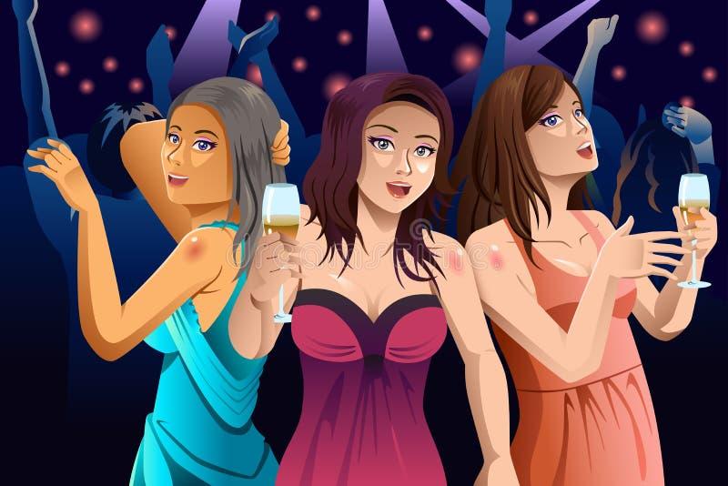 Mulheres que dançam em um clube ilustração royalty free