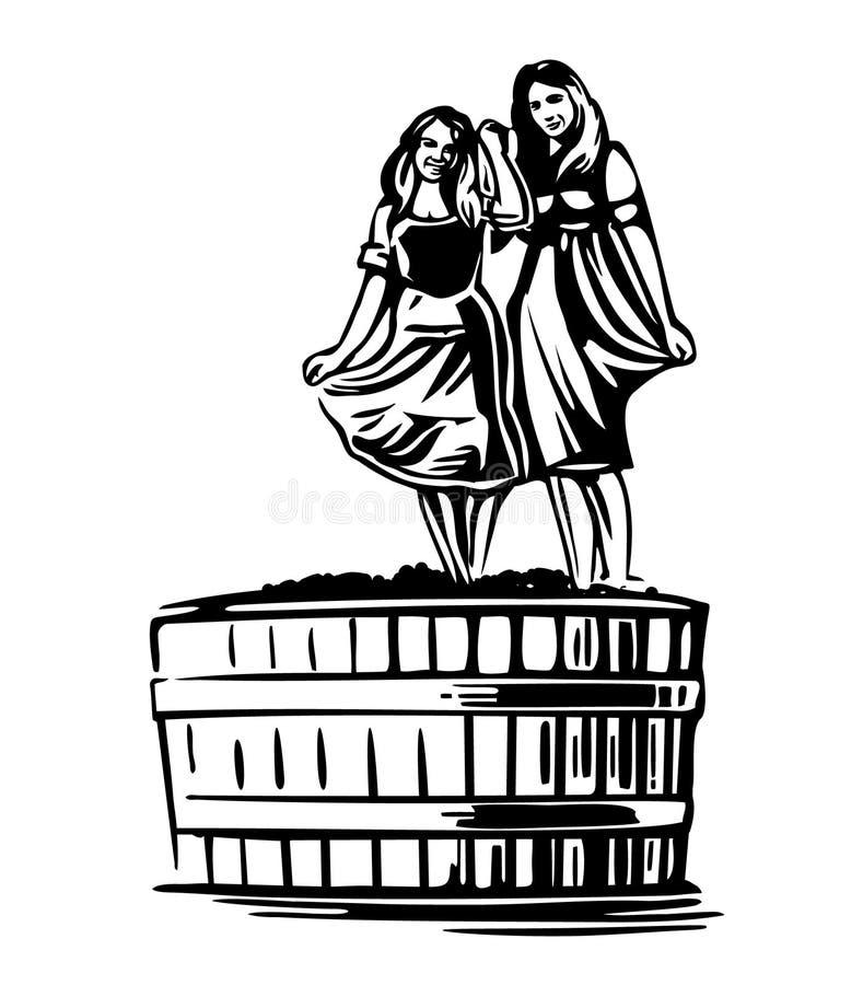 Mulheres que dançam em um tambor com uvas Vetor preto do vintage ilustração royalty free