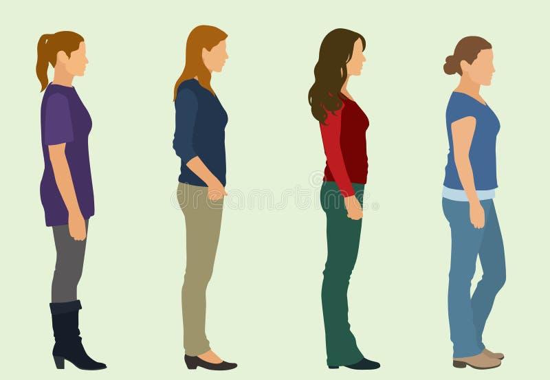 Mulheres que esperam na linha ilustração royalty free