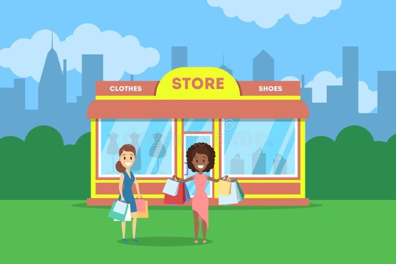 Mulheres que estão na frente da loja de roupa ilustração do vetor