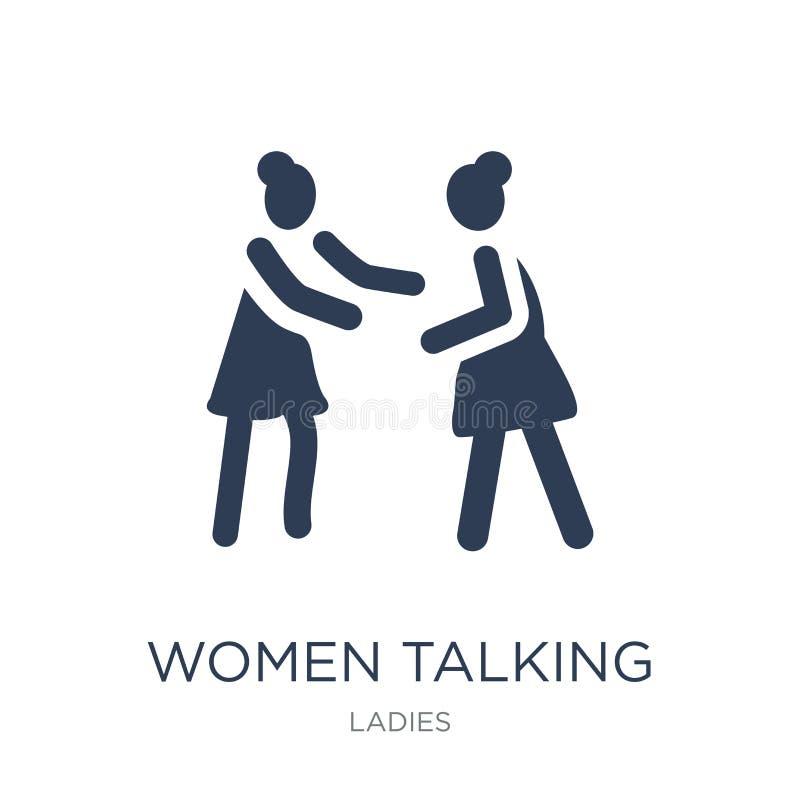 Mulheres que falam o ícone Mulheres lisas na moda do vetor que falam o ícone no whi ilustração do vetor