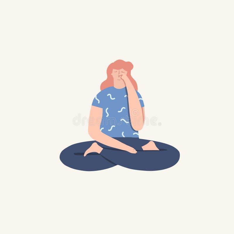 Mulheres que fazem o pranayama de respiração do exercício da ioga ilustração do vetor