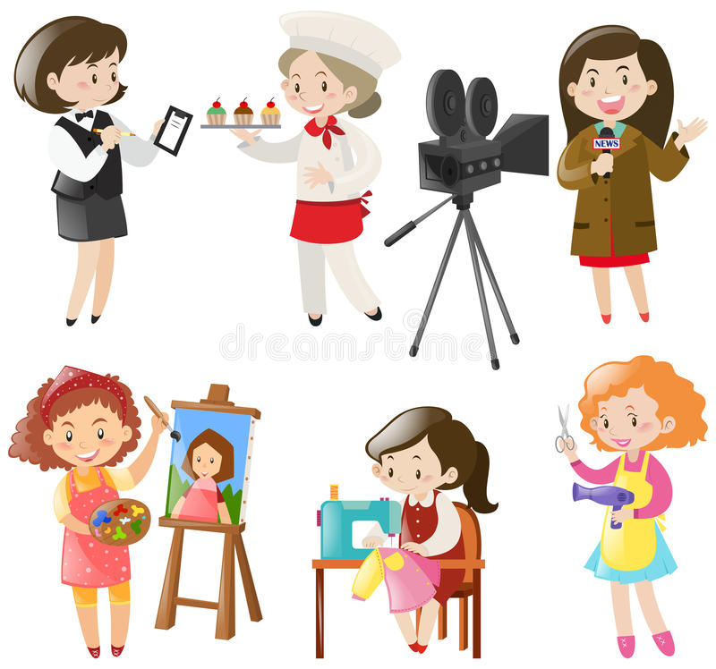 Mulheres que fazem tipos diferentes dos trabalhos ilustração royalty free