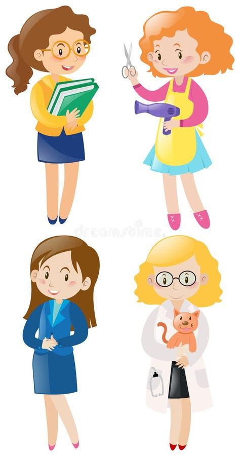 Mulheres que fazem tipos diferentes dos trabalhos ilustração do vetor