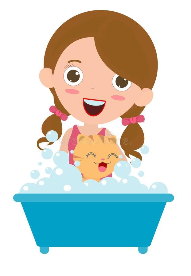Mulheres que lavam o gato, Cat Having feliz um banho, gato que prepara, ilustração lisa dos desenhos animados do vetor ilustração royalty free