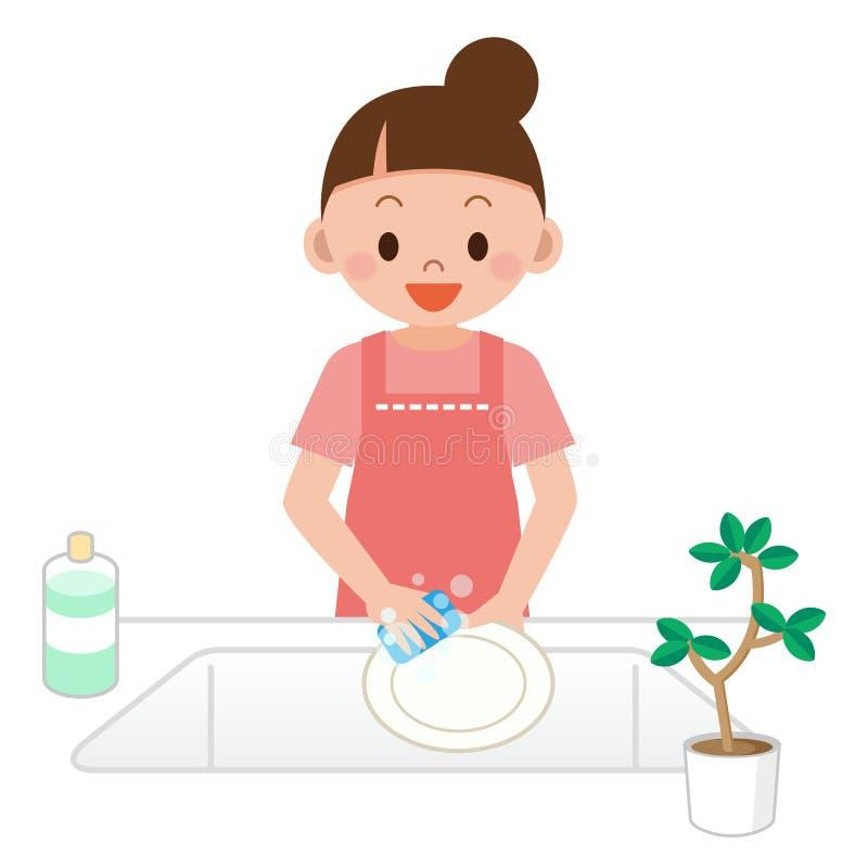Mulheres que lavam os pratos ilustração stock