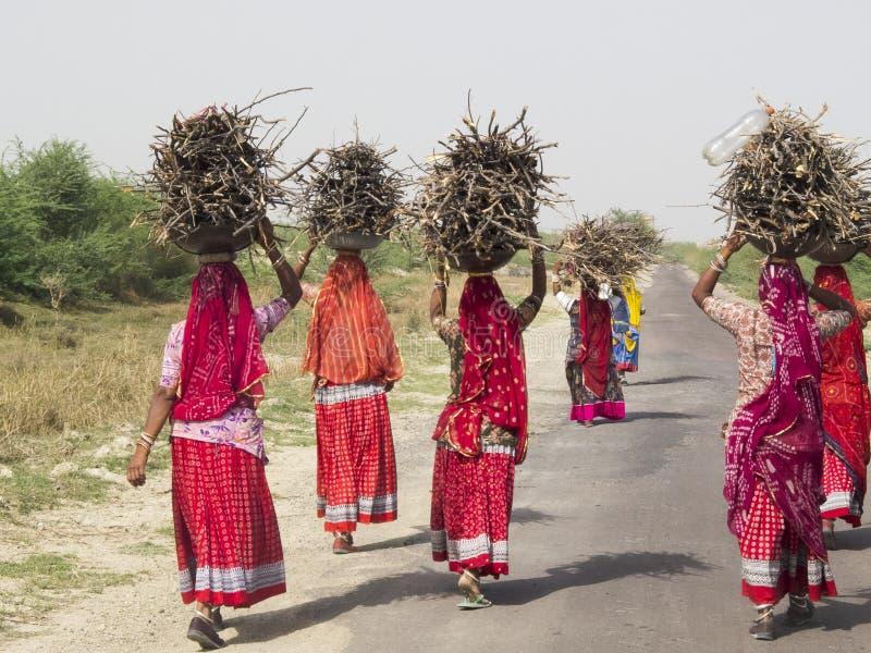 Mulheres que levam feixes na cabeça fotografia de stock royalty free