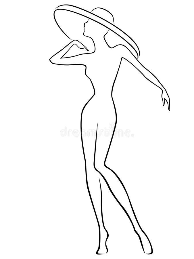 Mulheres que levantam no chapéu largo-brimmed ilustração stock