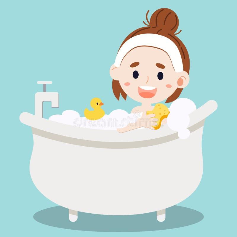 Mulheres que tomam um banho e sua esponja do uso ilustração stock