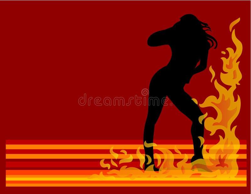 Mulheres quentes no incêndio ilustração do vetor