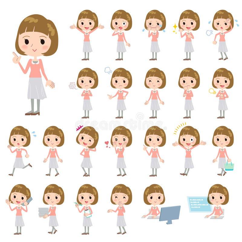 Mulheres retas da blusa do rosa do cabelo dos golpes ilustração stock