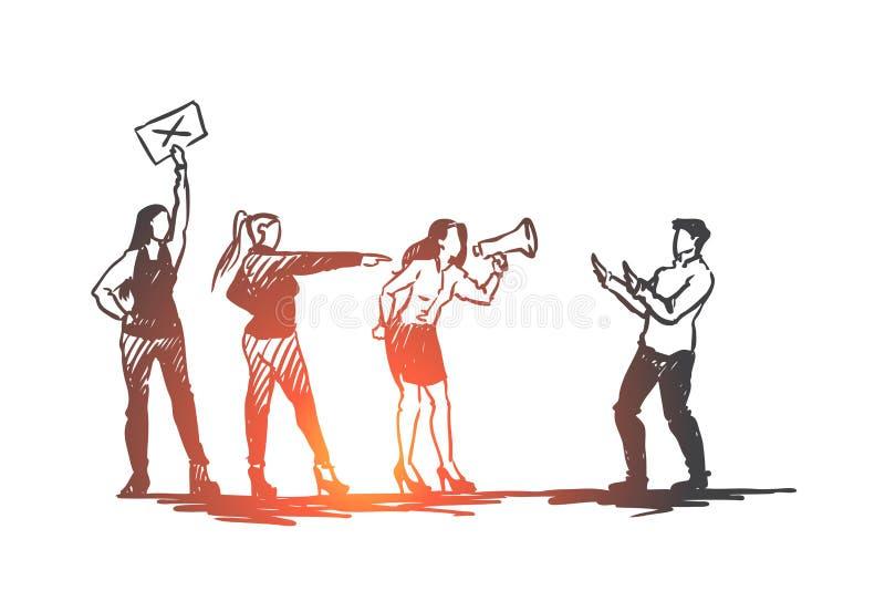 Mulheres, sexuais, perseguição, conceito do abuso Vetor isolado tirado mão ilustração do vetor
