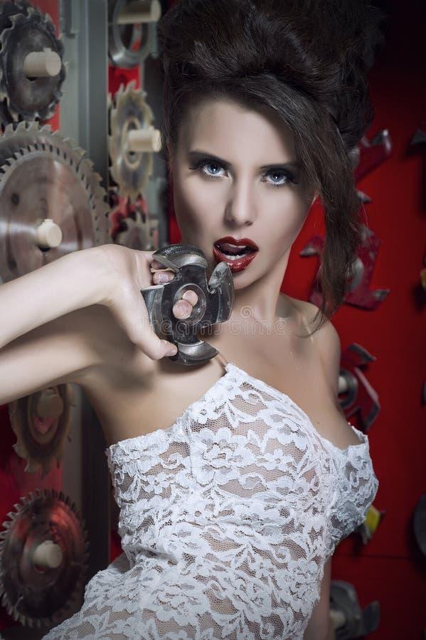Mulheres 'sexy' com bordos vermelhos fotografia de stock royalty free