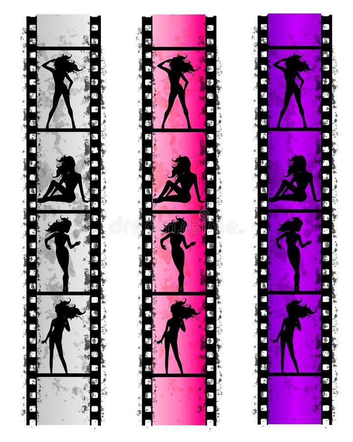 Mulheres 'sexy' da tira da película de Grunge ilustração royalty free