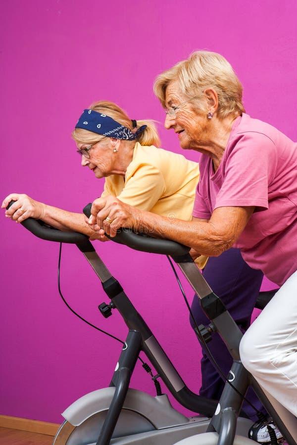 Mulheres superiores que fazem o giro no gym imagem de stock