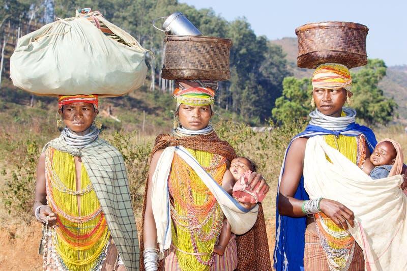 Mulheres tribais de Bonda fotografia de stock royalty free