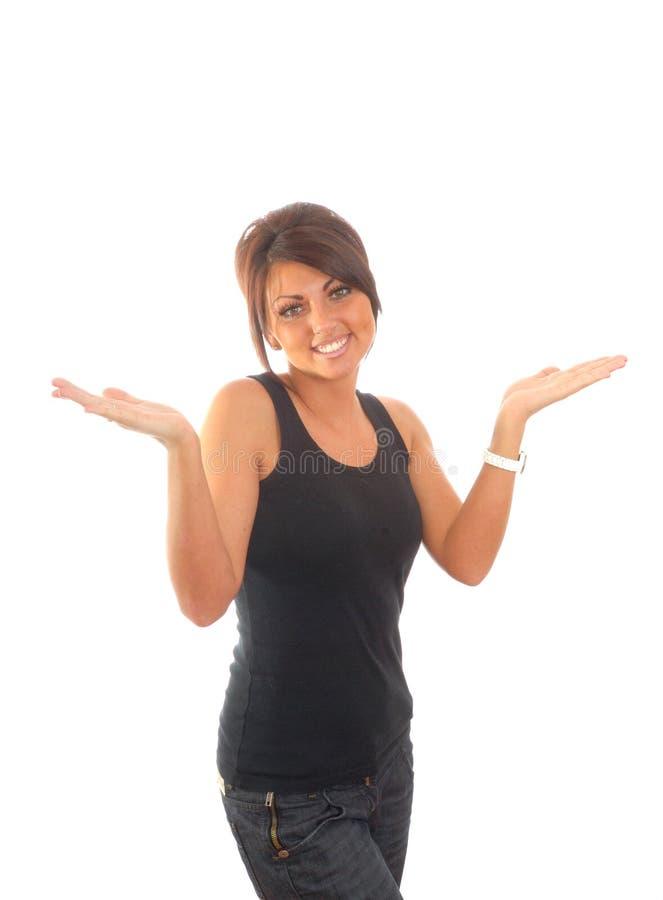 Mulheres triguenhas bonitas com braços para fora fotografia de stock