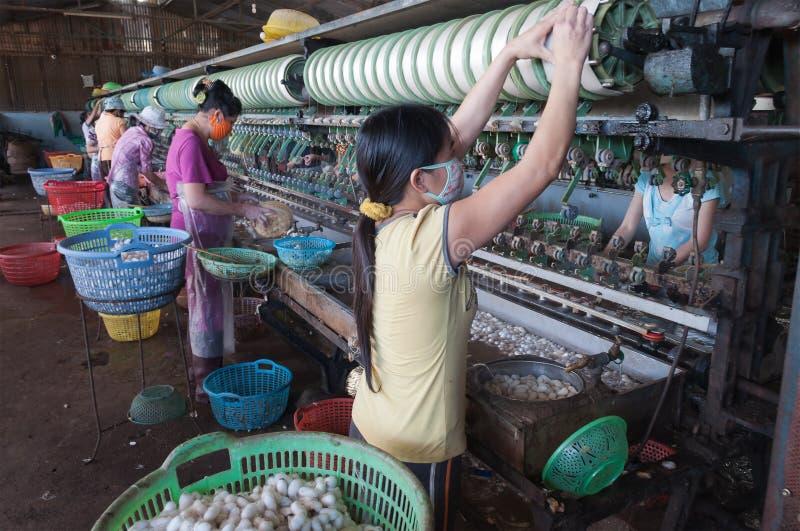 Mulheres vietnamianas que trabalham na fábrica de seda. Dalat. Vietnã fotografia de stock royalty free