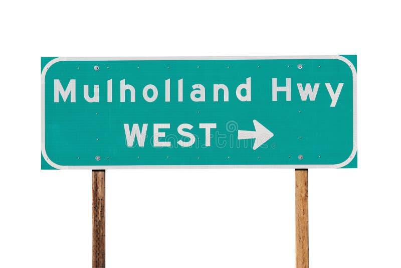 Mulholland Hwy Zeichen nahe Los Angeles lizenzfreies stockfoto