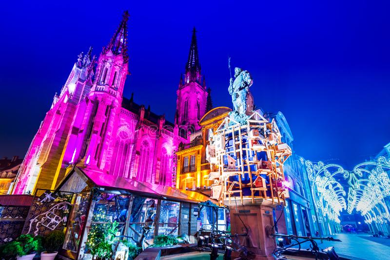 Mulhouse, Alsace, France - Christmas Market. Mulhouse, France - Traditional Christmas Market, Marche de Noel city in Alsace stock photography