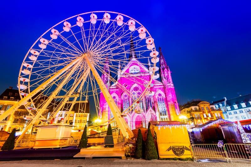 Mulhouse, Alsace, France - Marche de Noel. Mulhouse, France - Traditional Christmas Market, Marche de Noel city in Alsace stock image