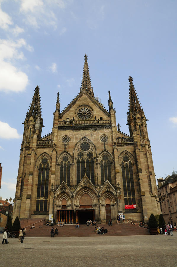 Mulhouse cathedral (France). Mulhouse cathedral in France, is a big and important gothic church stock photos