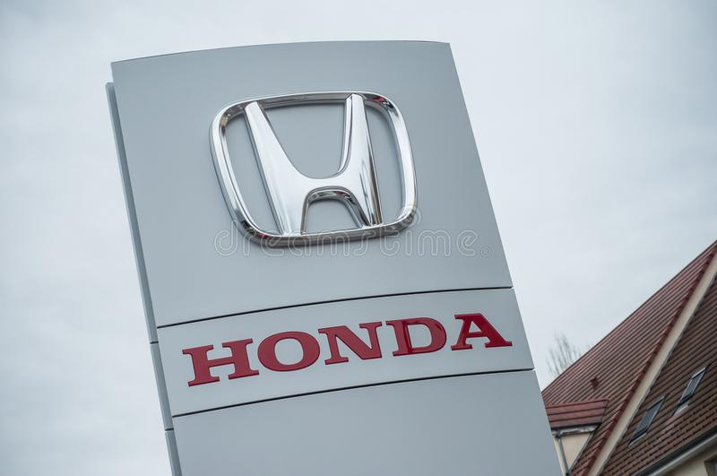 Honda Logo sign on Store front stock photography