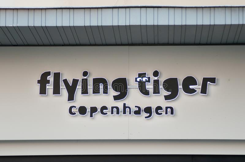Closeup of Flying tiger sign on store front, flying tiger is the famous danish decoration store royalty free stock photo
