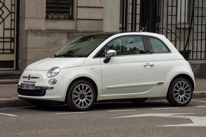 Fiat 500 pearly color parked in the street. Mulhouse - France - 18 August 2018 - fiat 500 pearly color parked in the street royalty free stock images