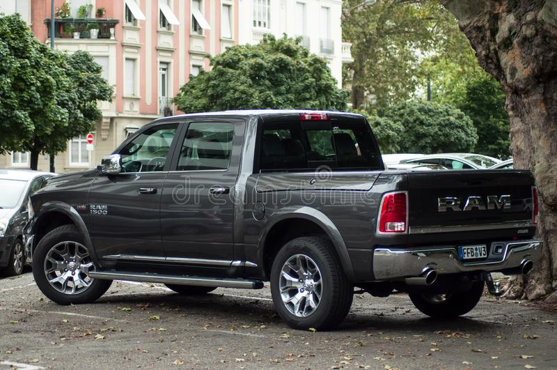 View of silver RAM 1500 pickup parked in the street stock photos