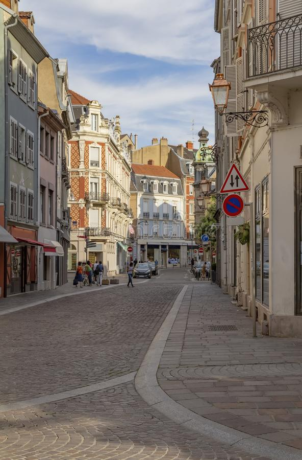 Mulhouse in France. City view of Mulhouse, a city in the Alsace region in France at evening time stock photos