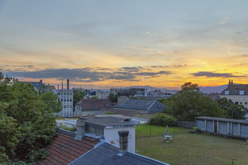 Mulhouse in France. City view of Mulhouse in the Alsace region in France at evening time stock photography