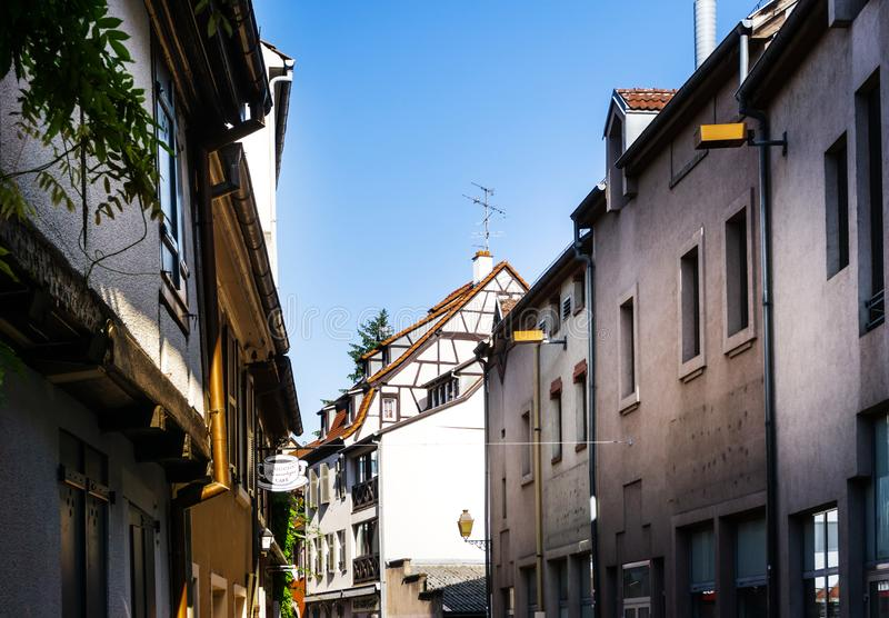 MULHOUSE,FRANCE. Jun 16, 2017: Antique building view in Old Town stock photography