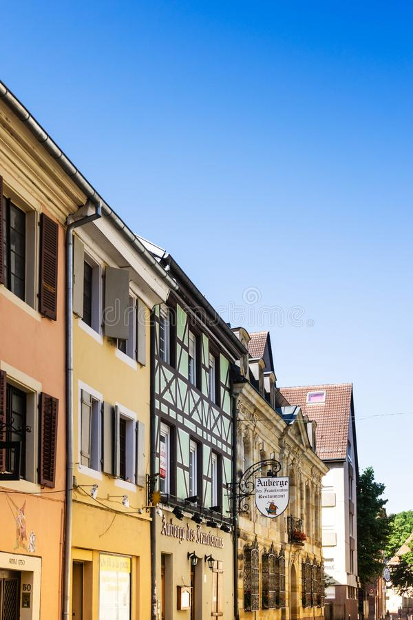 MULHOUSE,FRANCE. Jun 16, 2017: Antique building view in Old Town stock images