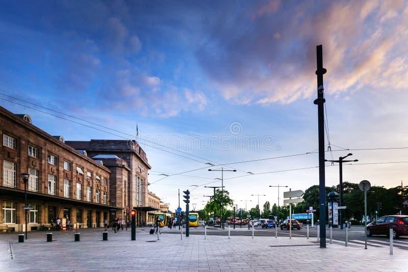 MULHOUSE,FRANCE. Jun 16, 2017: Main train station in Mulhouse, France royalty free stock photo